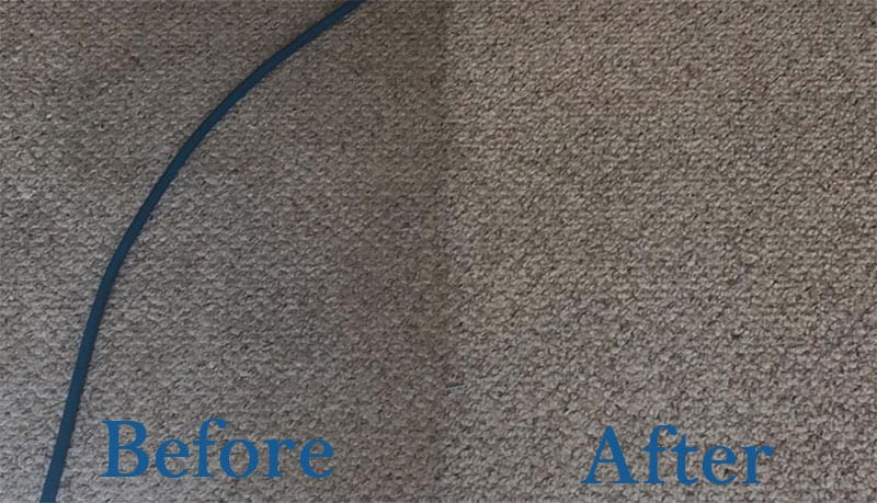 carpet cleaning showing before and after
