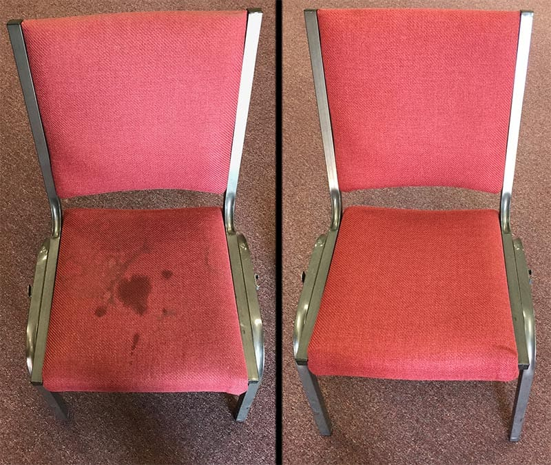 Commercial upholstery cleaning in office before and after photo