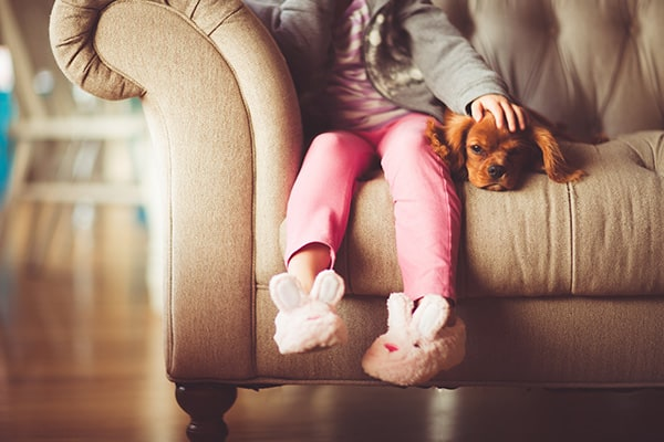 Girl sitting on a brown sofa with a dog