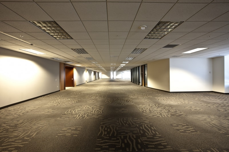 Patterned tan and brown commercial carpet in an office