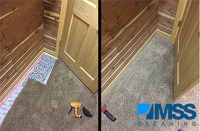 Before and After showing carpet repair.