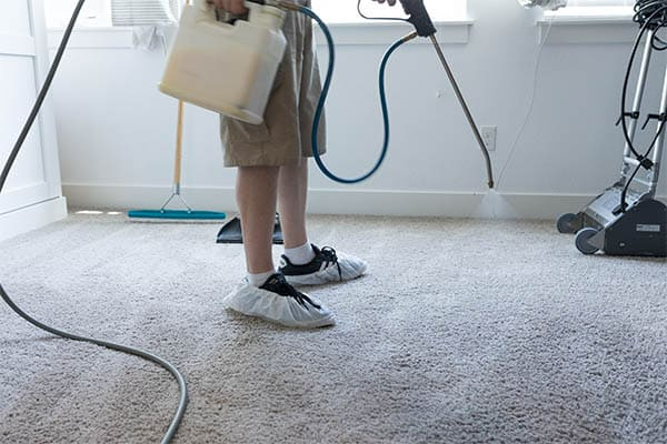 Applying topical dog urine treatment to carpet with a power sprayer