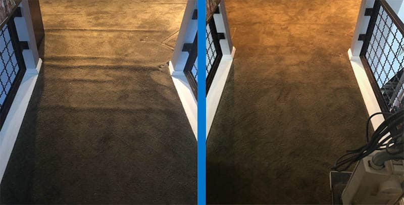 Before and after carpet stretching