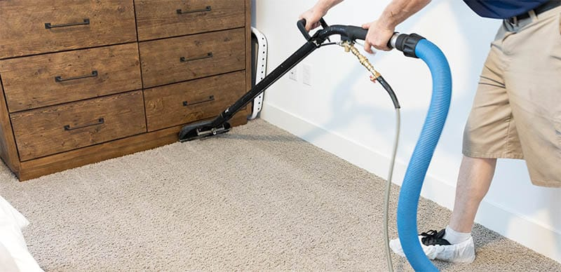 carpet cleaning traffic lanes in a bedroom