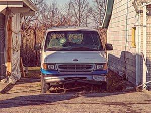 Old carpet cleaning van
