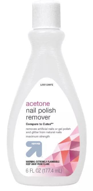 Acetone nail polish remover to get hot glue out of fabric