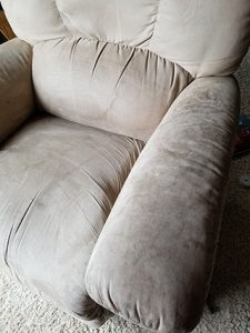 microfiber chair with soiled arms