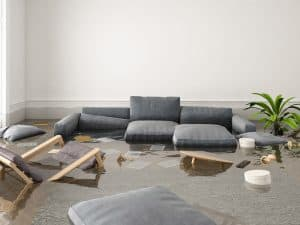 flooded room in a home